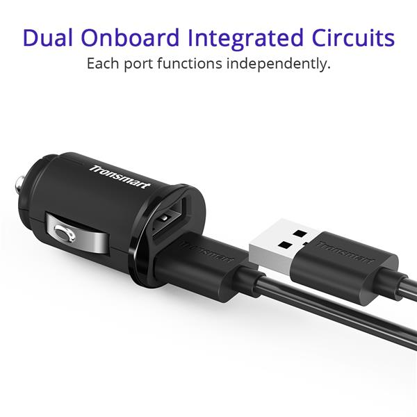 Tronsmart C24 4.8A 2 Ports USB Fast Charge Smallest Mini Car Charger