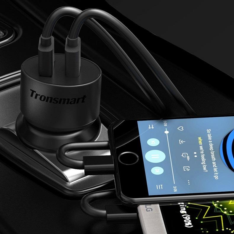 Tronsmart CC2TF 36W Dual USB Car Charger with Quick Charge 3.0