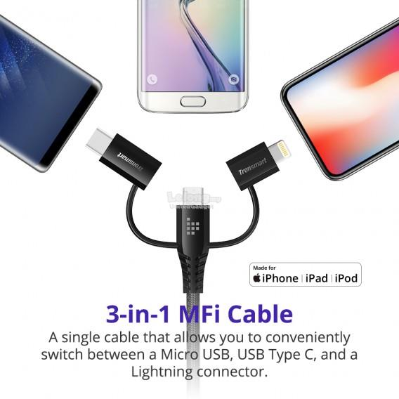 Tronsmart LAC10 Micro USB 4ft/1.2m 3 in 1 Cable