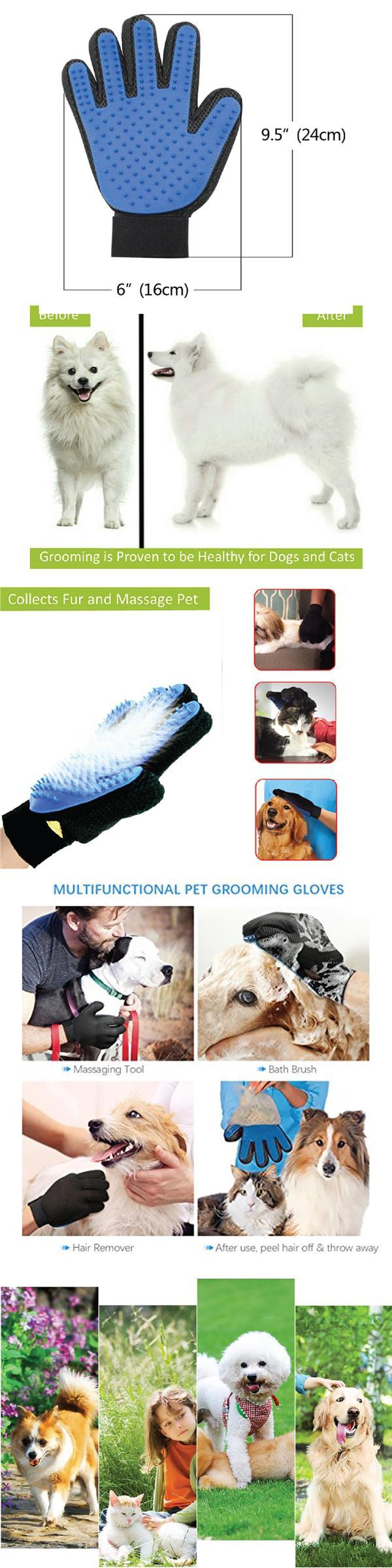 True Touch Five Finger Deshedding Glove Pet Gromming The Hair Away