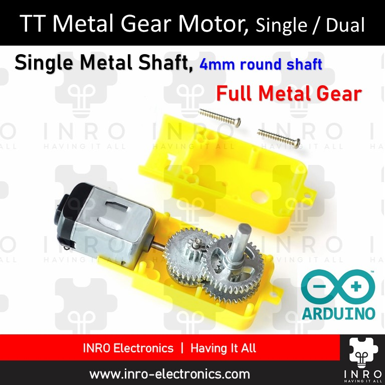 TT Gear Motor (High Torque), Metal Gear and Shaft, Single / Dual Shaft