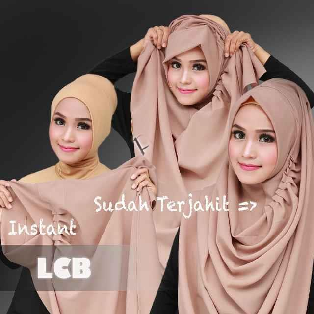 TUDUNG HIJAB LABUH INSTANT SHAWL BY FLOW IDEA - LCB PEACH