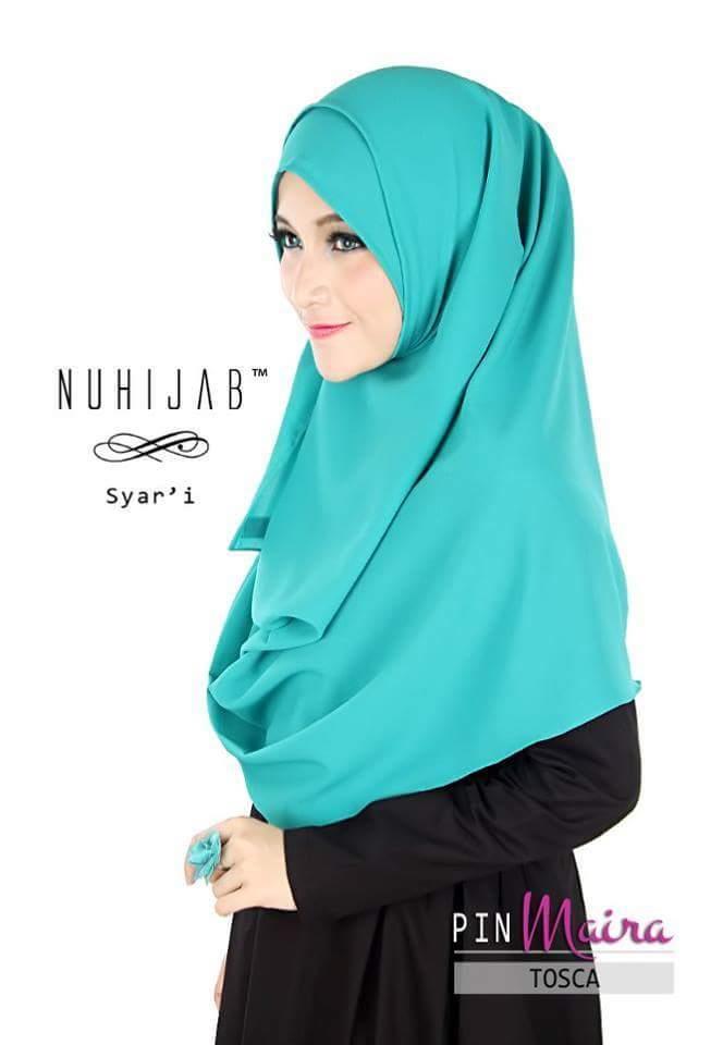 Tudung Hijab Pashmina Instant Nuhijab Pin Maira Hijau Turquoise
