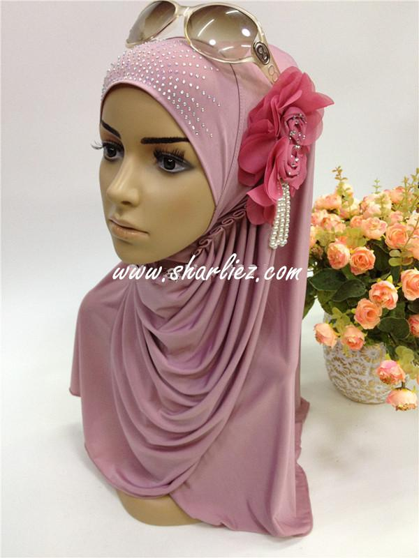 Tudung & Shawl pearl flower beads diamond 2