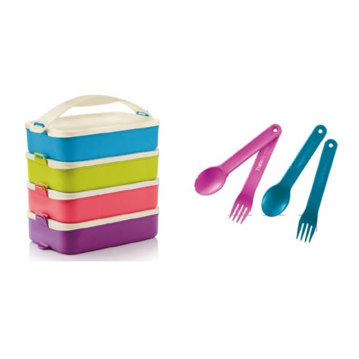 Tupperware Click To Go (4) 900ml with Cutlery Sets (2)