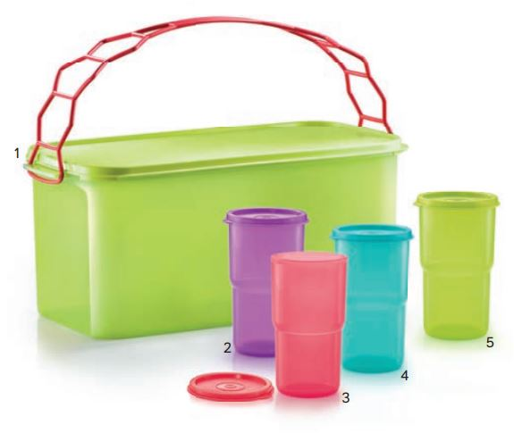 Tupperware Deep Carry All with Cariolier (1) 9.0L + Outdoor Tumbler (4
