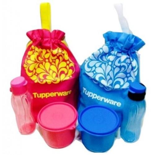 Tupperware Flip Top Eco Bottle 310ml Pink / Blue Set. ‹ ›