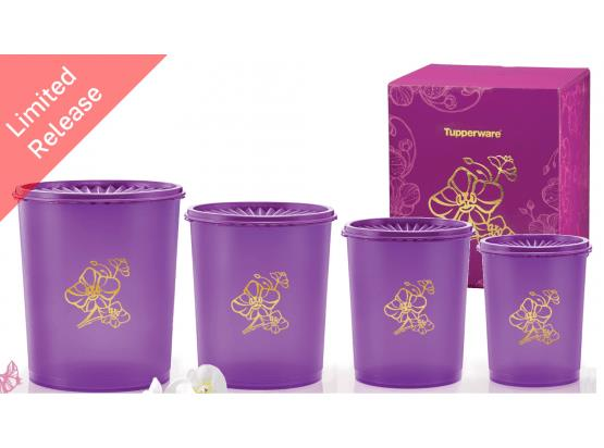 Tupperware Golden Flora Deco Canister Set