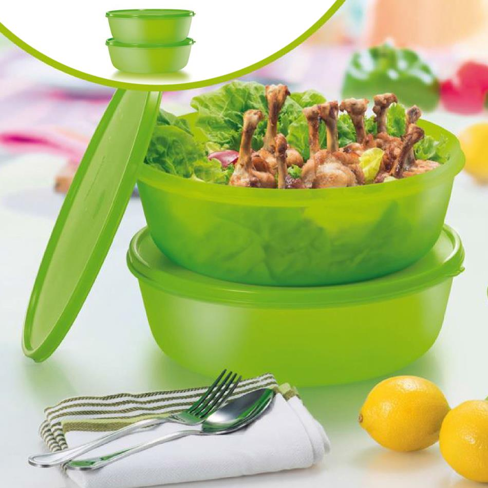 Tupperware Modular Bowl (2) 3L -Green.Food container.Bekas makanan-