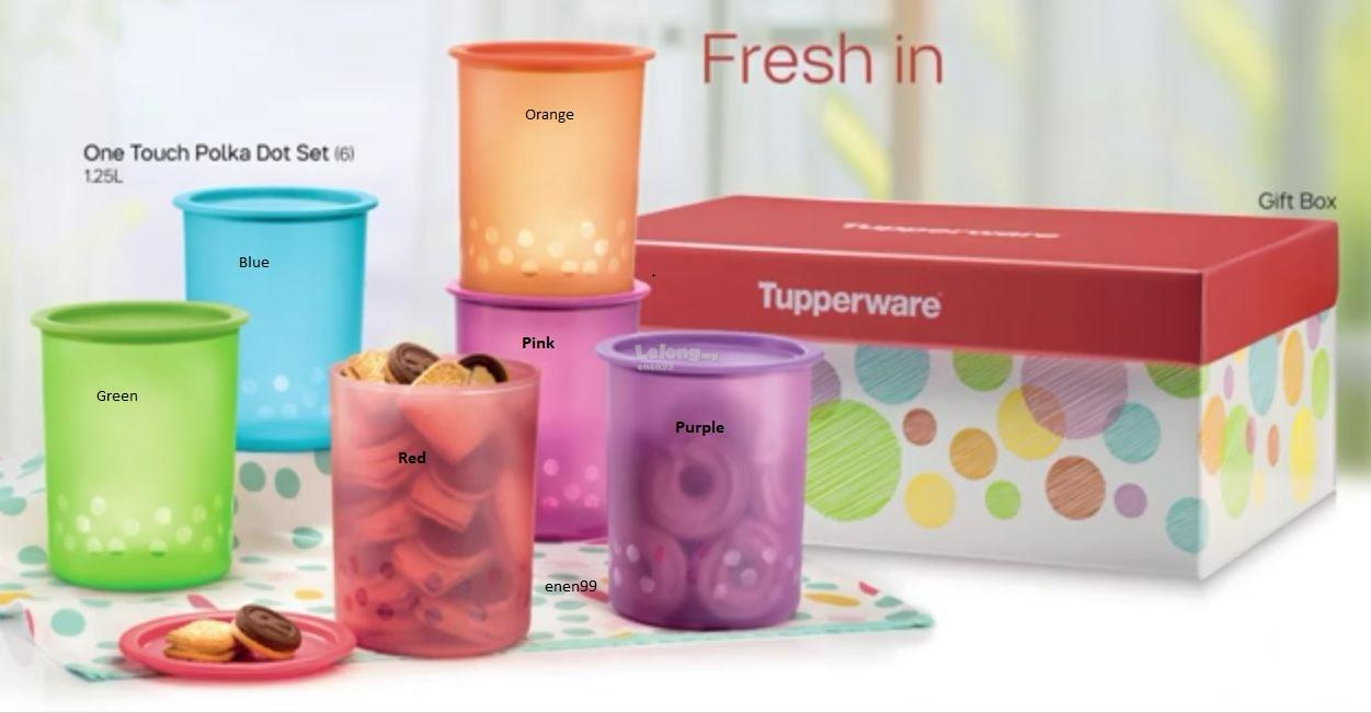 Tupperware One Touch Polka Dot (2) 1.25L - Green & Red