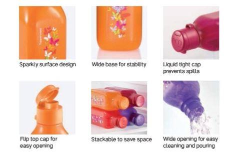 Tupperware Sparkle Square Eco Bottle (2) 500ml - Maroon & Orange