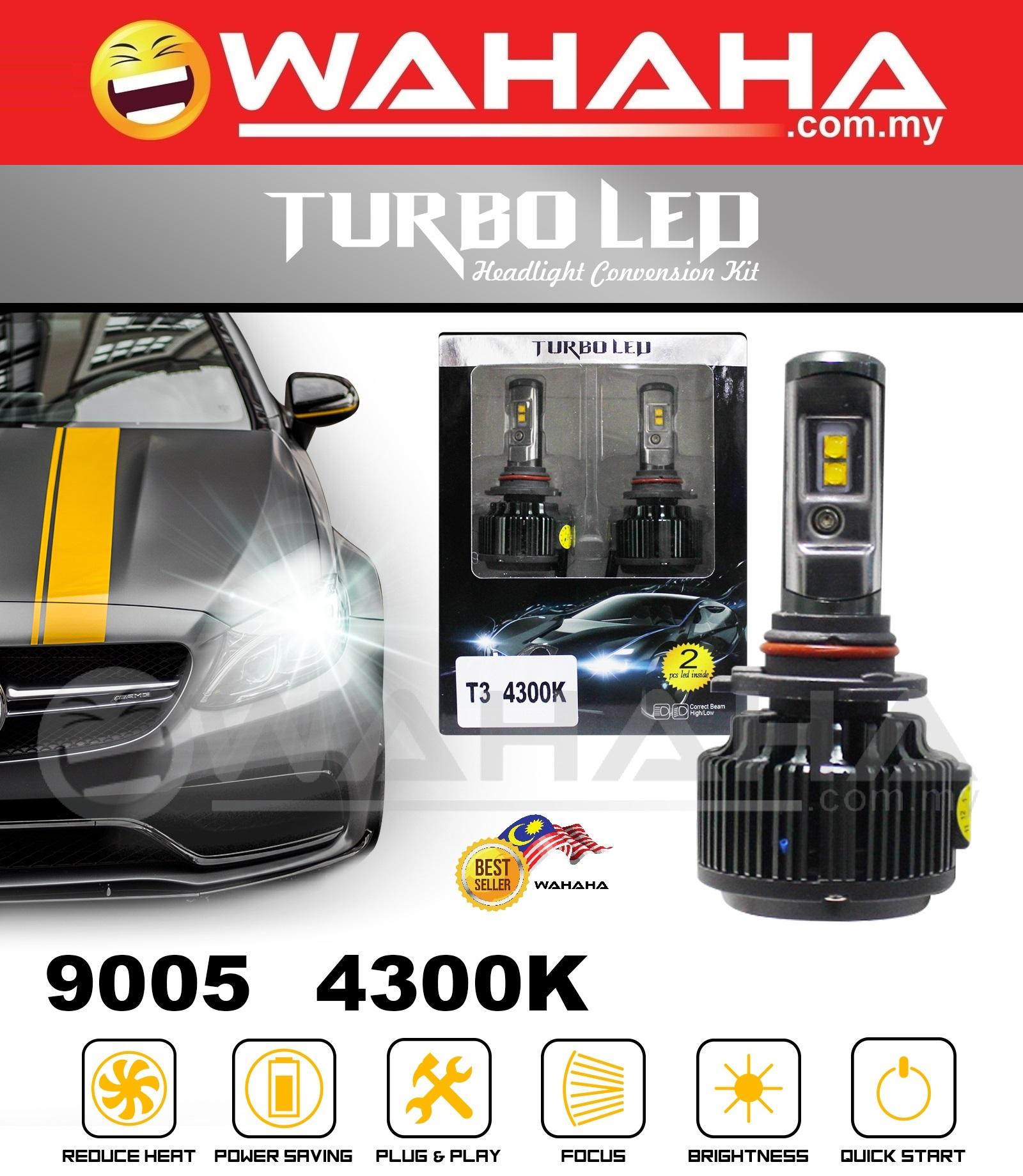 TURBO LED Pair 9005 Car Headlight 4300K OEM White Light Bulb Conversio