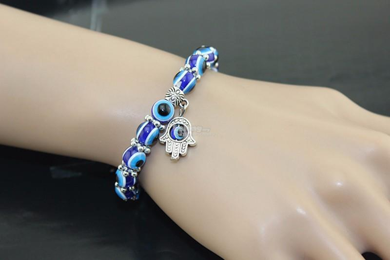 Turkish Evil Eye Lucky Charm Bead Bracelet Hand Jewelry