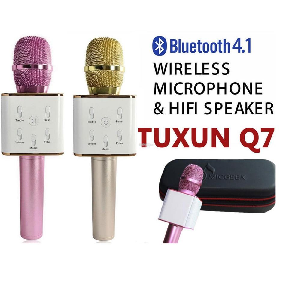 TUXUN Q7 Wireless Microphone KTV Karaoke Bluetooth Mic New w USB Port. ‹ ›