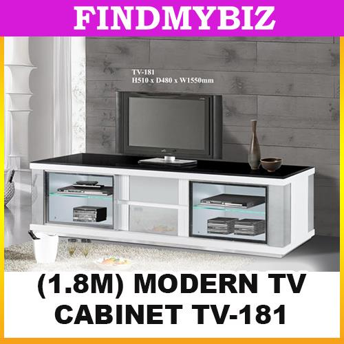 TV-181 ELEGANT PREMIUM LONG RECTANGLE WHITE 1.8 TV TABLE CABINET SET
