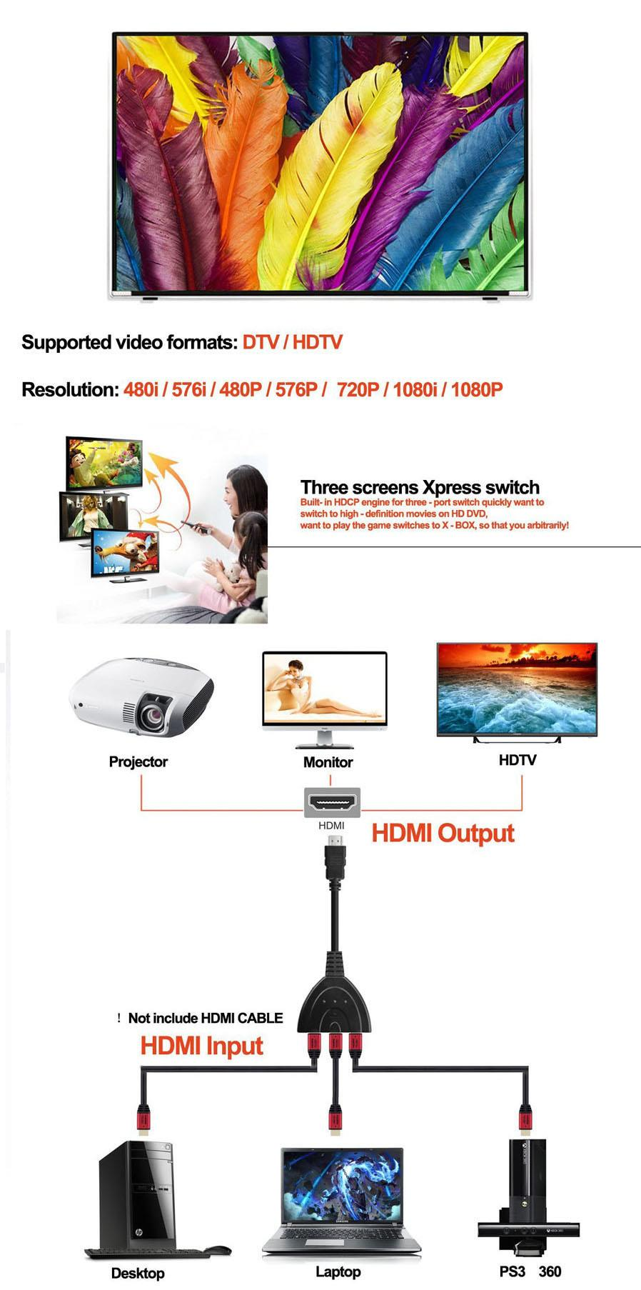 TV HDMI Splitter 3 in 1 Out Switch With Cable Adapter Switcher
