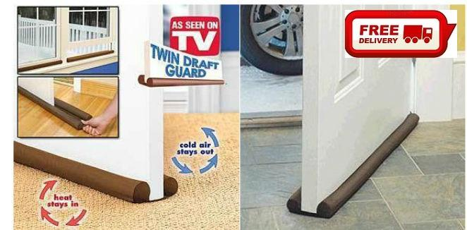 As Seen On TV Twin Draft Door Guard Blocking Dust & Door Clean Strip