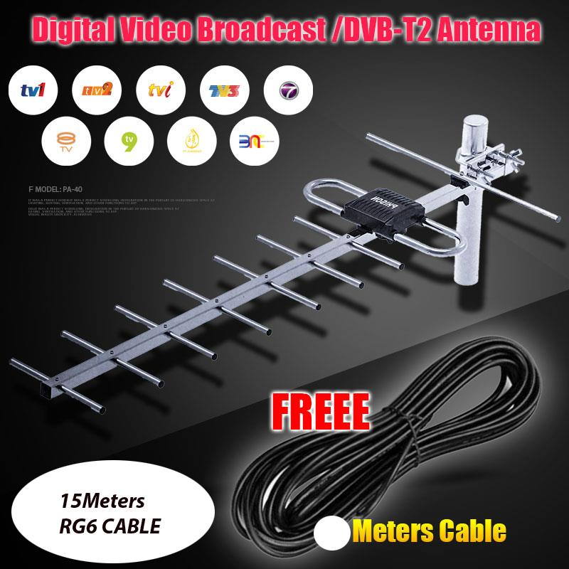 MY TV UHF OUTDOOR ANTENNA AERIAL WITH 15METER RG6 CABLE