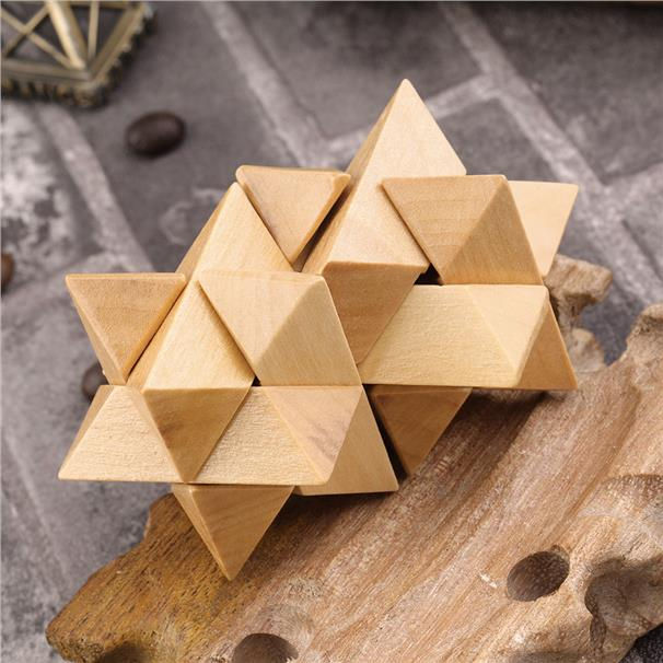 Twin Stars Wooden IQ Brain Storm Kong Ming Lock Puzzle Magic Cube Gift