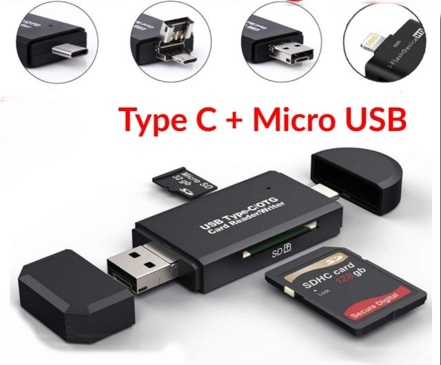 Type C + Micro USB 2 In 1 Multifunctional OTG Card Reader Micro SD / SD Card /