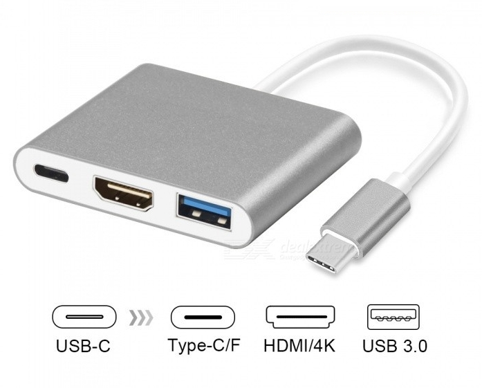 Type C To 4K HDMI USB 3.0 Charging HUB Adapter USB-C 3.1 Converter For Macbook