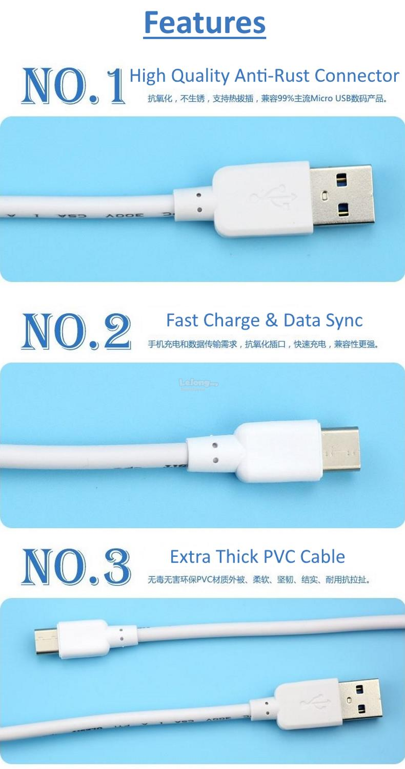 Type-C USB 3.1, 2.1A Fast Charge And Data Sync Cable With Noise Filter