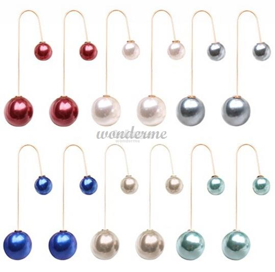 e73ae59d63fb3 U-Shaped Double Sided Faux Pearl Ball Drop Dangle Earrings