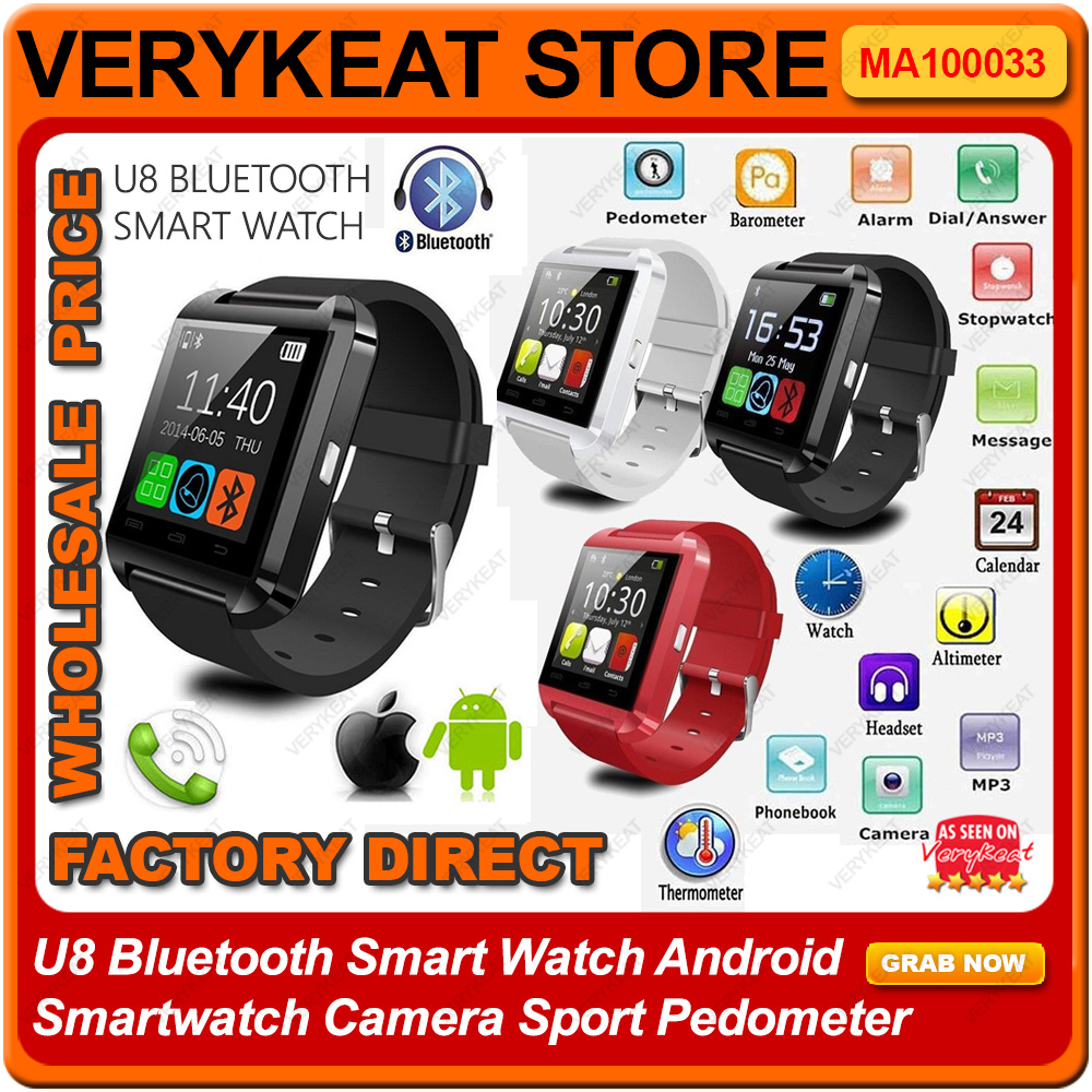 U8 Bluetooth Smart Watch Android Smartwatch Camera Sport Pedometer