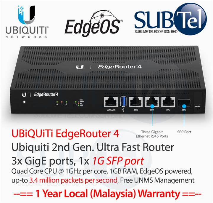 Ubiquiti EdgeRouter 4 port Gigabit SFP Router BGP OSPF IPv6 ER-4