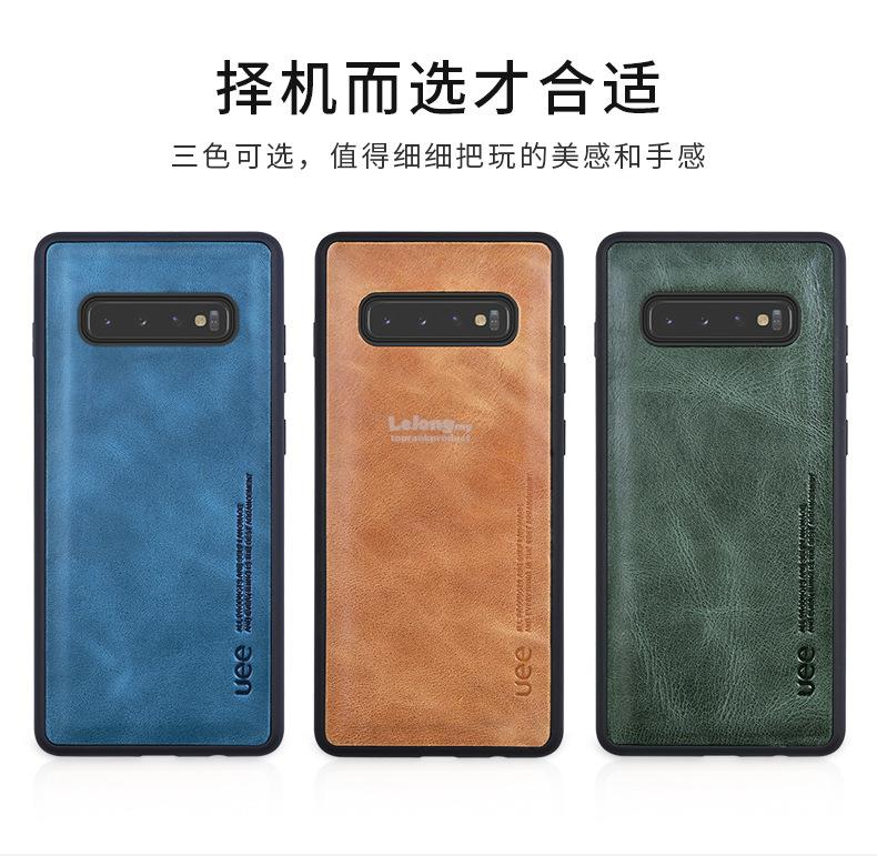 UEE Samsung Galaxy S10 / S10+ Plus Cow Leather Case Cover Casing