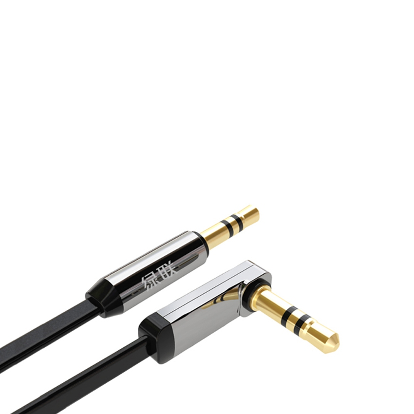Ugreen 10728 3M 3.5Mm (M) To 3.5Mm (M) Right Angle Flat Cable Gold Plated - Bl