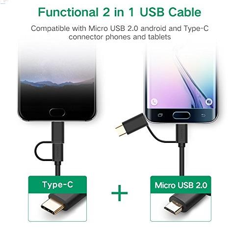 Ugreen 25cm Micro USB Type-C 2 in 1 Fast Charging Data Cable 0.25m New