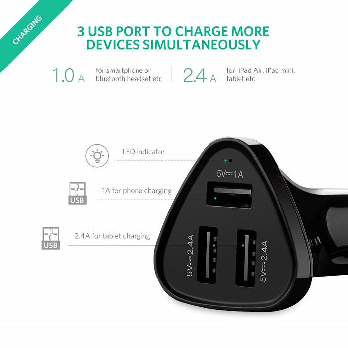 Ugreen 3 Port USB Car Charger 5V 2.4A 1A iPhone iPad Android Phone