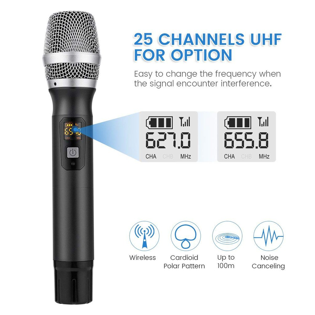 Uhf WIRELESS Microphone System Dual Mic With Receiver 1/4inch 1/8inch