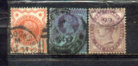 UK Great Britain 3 QV Old stamps