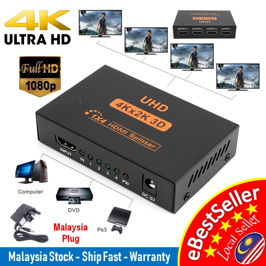 Ultra HD 4K 2 Port & 4 Port HDMI Splitter 1x2 & 1x4 Repeater Amplifier