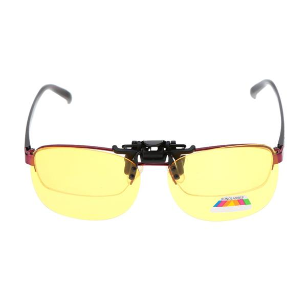 Ultra Light Flip Up Clip On Driving Sunglasses Night Vision Strengthen