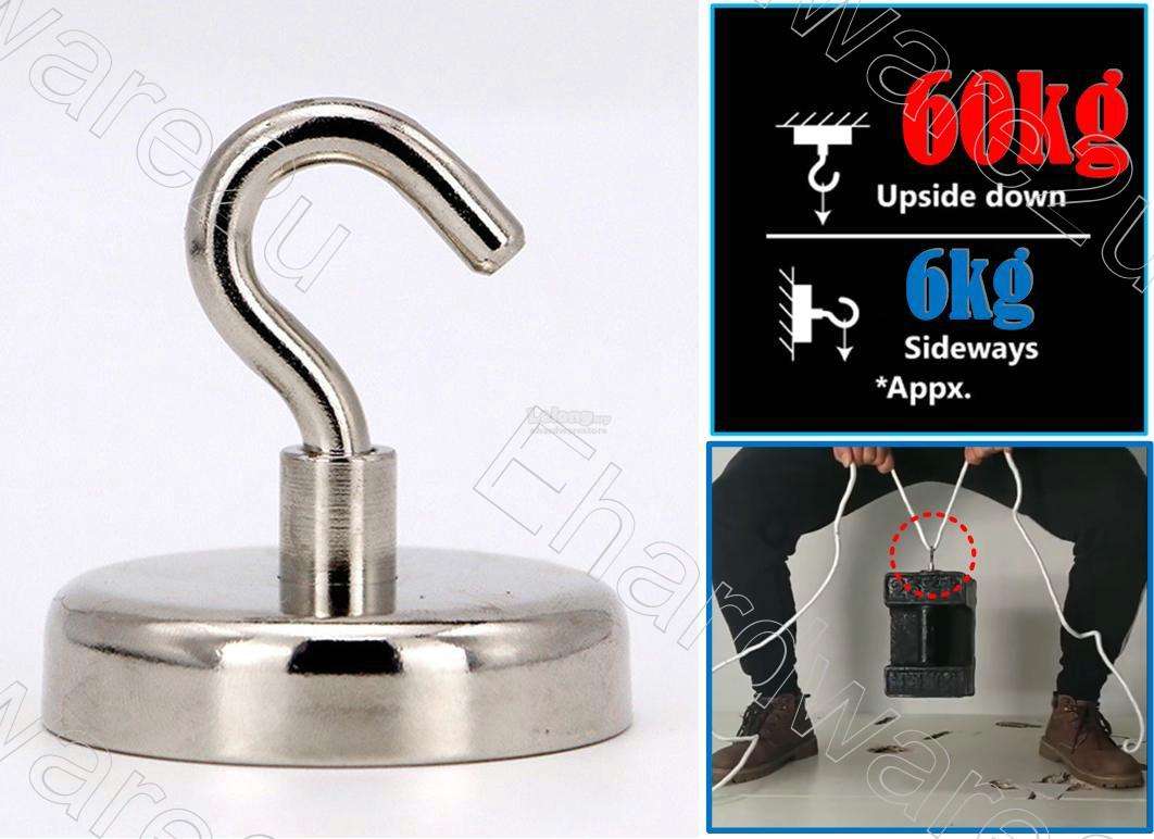 Ultra Strong Neodymium Magnet Hook Hang 48mm 60kg (MH-D48)