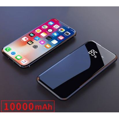 Ultra Thin Full Mirror Digital Display Wireless Charging Power Bank