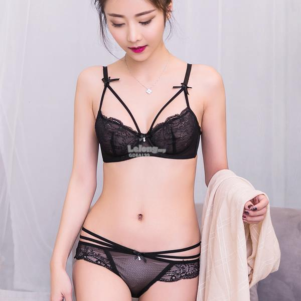 Ultra Thin Transparent Bra Sexy Lace Adjustment Temptation Bra Set