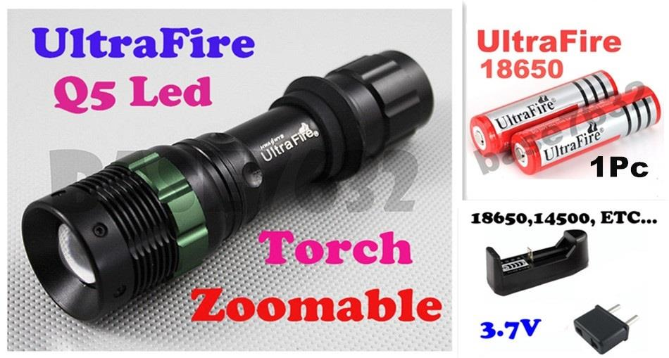Ultrafire 5-Mode Zoom/Zoomable Cree Q5 Led Flashlight Torch light