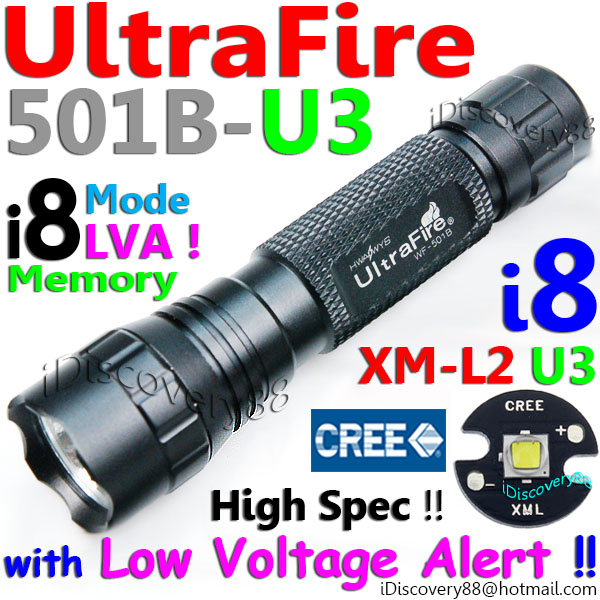 UltraFire 501B-U3 i8 Cree XM-L2 Bicycle LED Torch MTB Bike FlashLight