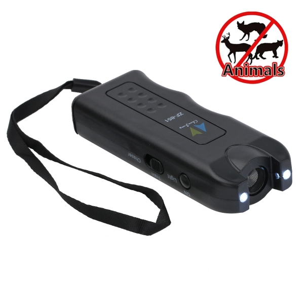 Ultrasonic Dog Chaser with 2 Flashlights(Black)