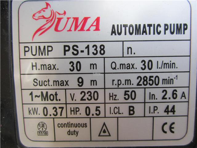 Uma 0.37kW (1/2HP) Automatic Self-Priming Home Pump