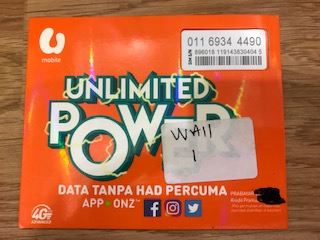 Umobile Prepaid UNLIMITED 01169344490