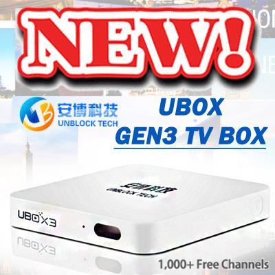 UNBLOCK TV BOX GEN 3 / LIVE TV / global edition /ubox