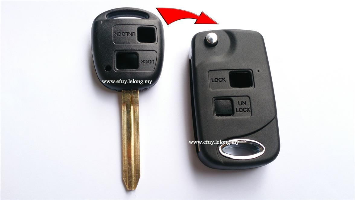 Uncut Blank Folding Flip Remote Key Shell Case For Toyota RAV4 Camry C