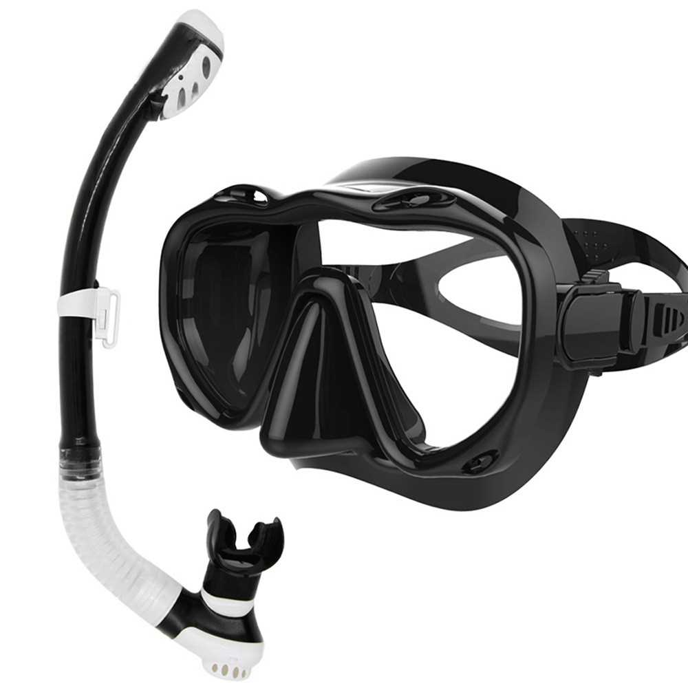 Underwater Full Dry Breathing Tube Diving Goggles Toughened Glass Mask Suit Di