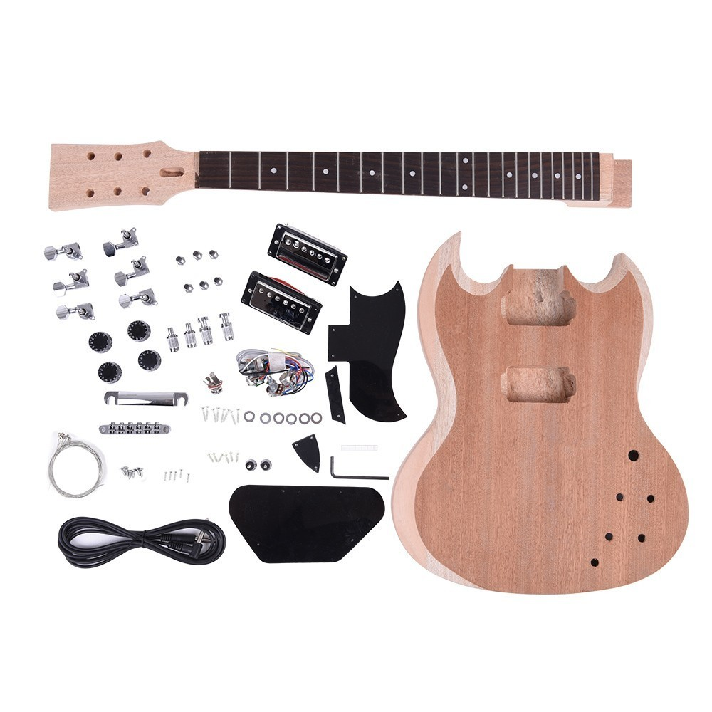 Unfinished DIY Electric Guitar Kit Mahogany Body Neck Rosewood Fingerb