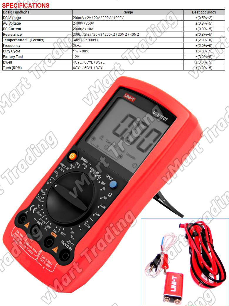 UNI-T UT107 Digital Automotive Multimeter + Thermometer